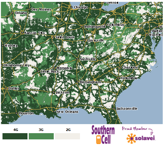 Solavei Nationwide 4G Cell Phone Coverage Area Map